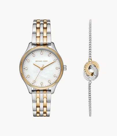 Michael Kors Lexington Two-Tone Watch and Bracelet Gift Set