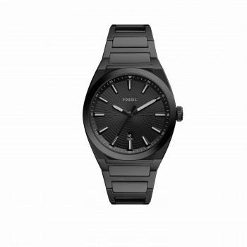 Everett Three-Hand Date Black Stainless Steel Watch