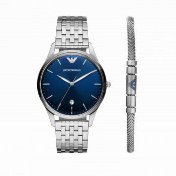 Emporio Armani Special-Edition Three-Hand Stainless Steel Watch and Bracelet Set