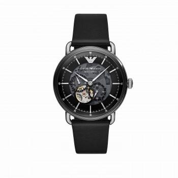 Emporio Armani Multifunction Black Leather Watch