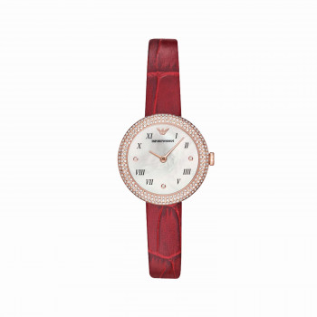 Emporio Armani Two-Hand Red Leather Watch