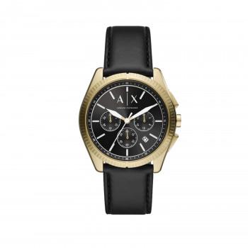 Armani Exchange Chronograph Black Leather Watch