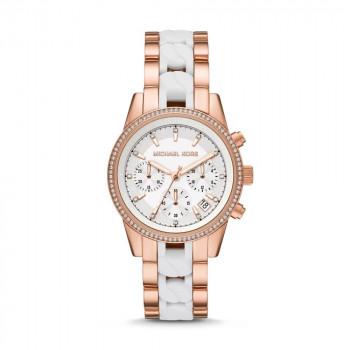 Michael Kors Ritz Chronograph Rose-Tone Stainless Steel Watch