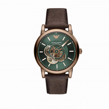 Emporio Armani Multifunction Brown Leather Watch