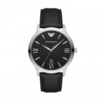 Emporio Armani Men's Three-Hand Date Black Leather
