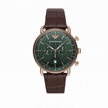 Emporio Armani Chronograph Brown Alligator-Embossed Leather Watch