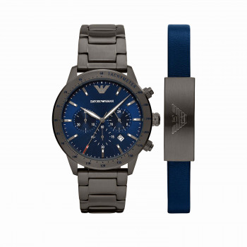 Emporio Armani Chronograph Gunmetal Stainless Steel Watch and Bracelet Set