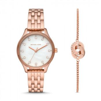 Michael Kors Lexington Rose Gold-Tone Watch and Bracelet Gift Set