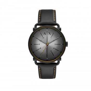 Armani Exchange Three-Hand Black Leather Watch