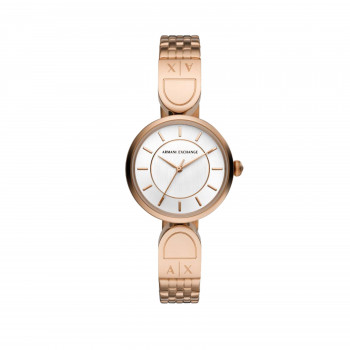 Armani Exchange Three-Hand Rose Gold-Tone Stainless Steel Watch